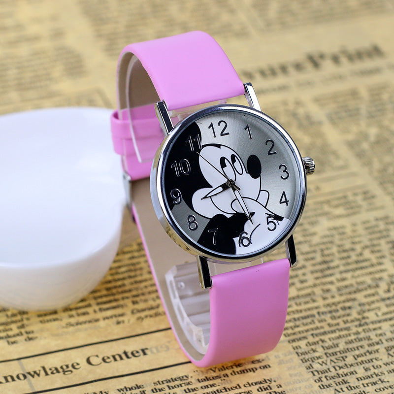 JOYROX Fashion Mickey mouse Pattern Lovers Watch 2017 High Quality Leather Strap Quartz Wristwatch Casual Women Men Girls Clock