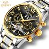 KINYUED Business Mechanical Watches Mens Skeleton Tourbillon Automatic Watch Men Gold Steel Calendar Waterproof Relojes Hombre