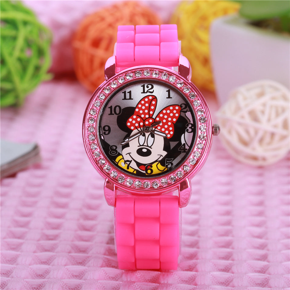 Minnie mouse cartoon crystal rhinestone kids watches silicone children watch for women female ladies students girl clock gift