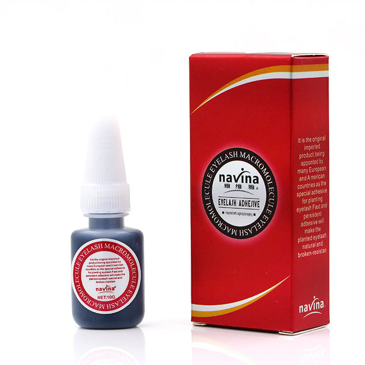 Navina NEW Original Package Professional 10g Eyelash Glue Makeup Liquid Red Box Macromolecule Adhesive Eyelash Glue None odor