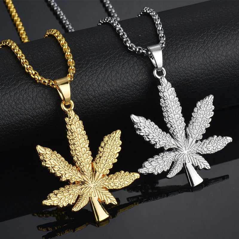 Gold Plated Hip Hop Bling Crystal Maple Leaf Pendant Necklace For Men Jewelry