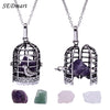 SEDmart Antique Silver Crystal Bird Cage Pendant Necklace Locket Interchangeable  Rock Quartz Stone Necklace For Women