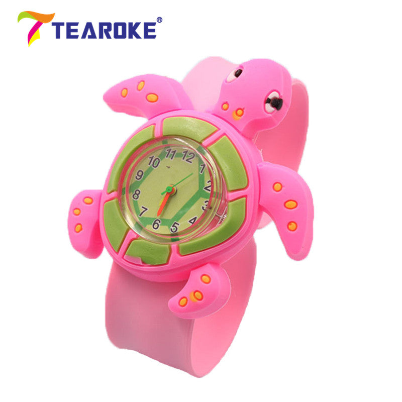 TEAROKE Cute Cartoon Children Slap Watch Monkey Penguin Butterfly 3D Silicone Wristwatch Clock Kid Toys Boy Girl Gift Adjustable