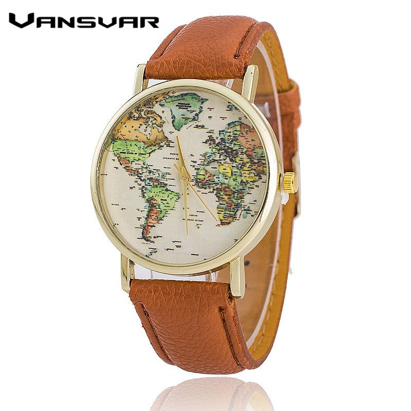 Vansvar Leather Strap World Map Watch Fashion Women Quartz Watch Mapa Reloj Mujer Relogio Feminino BW1574