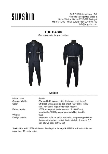 Launch of the BASIC paddlesuit - the SUPSKIN rental suit