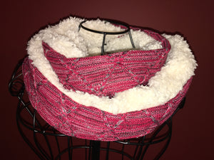 Red Jacquard Knit Sherpa Infinity Scarf