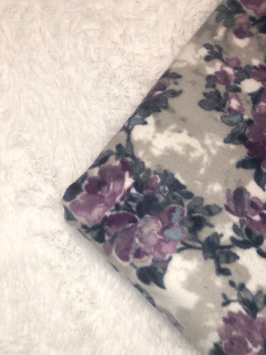 Purple & Grey Floral/White Sherpa - BerkSherps XL Luxe Sherpa Cuddler