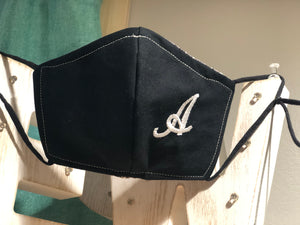 Solid Black with Embroidered Initial Cotton Mask