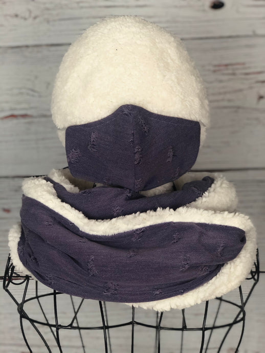 Distressed Plum Knit Infinity Scarf & Matching 3 Ply Mask