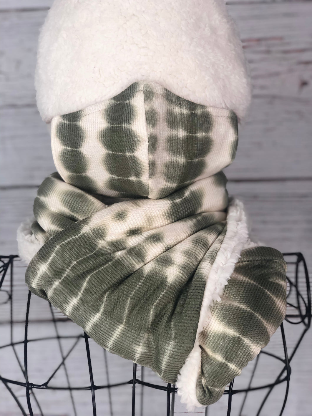 Sage Green with Ivory Ombré Knit Infinity Scarf & Matching 3 Ply Mask