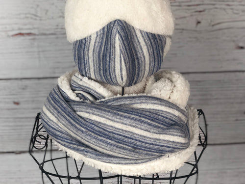 Powder Blue Striped Knit Infinity Scarf & Matching 3 Ply Mask