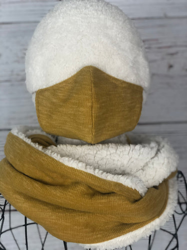 Mustard Yellow Solid Knit Infinity Scarf & Matching 3 Ply Mask