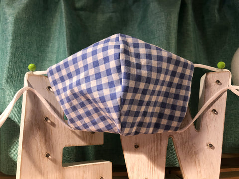 Blue Gingham Cotton Mask