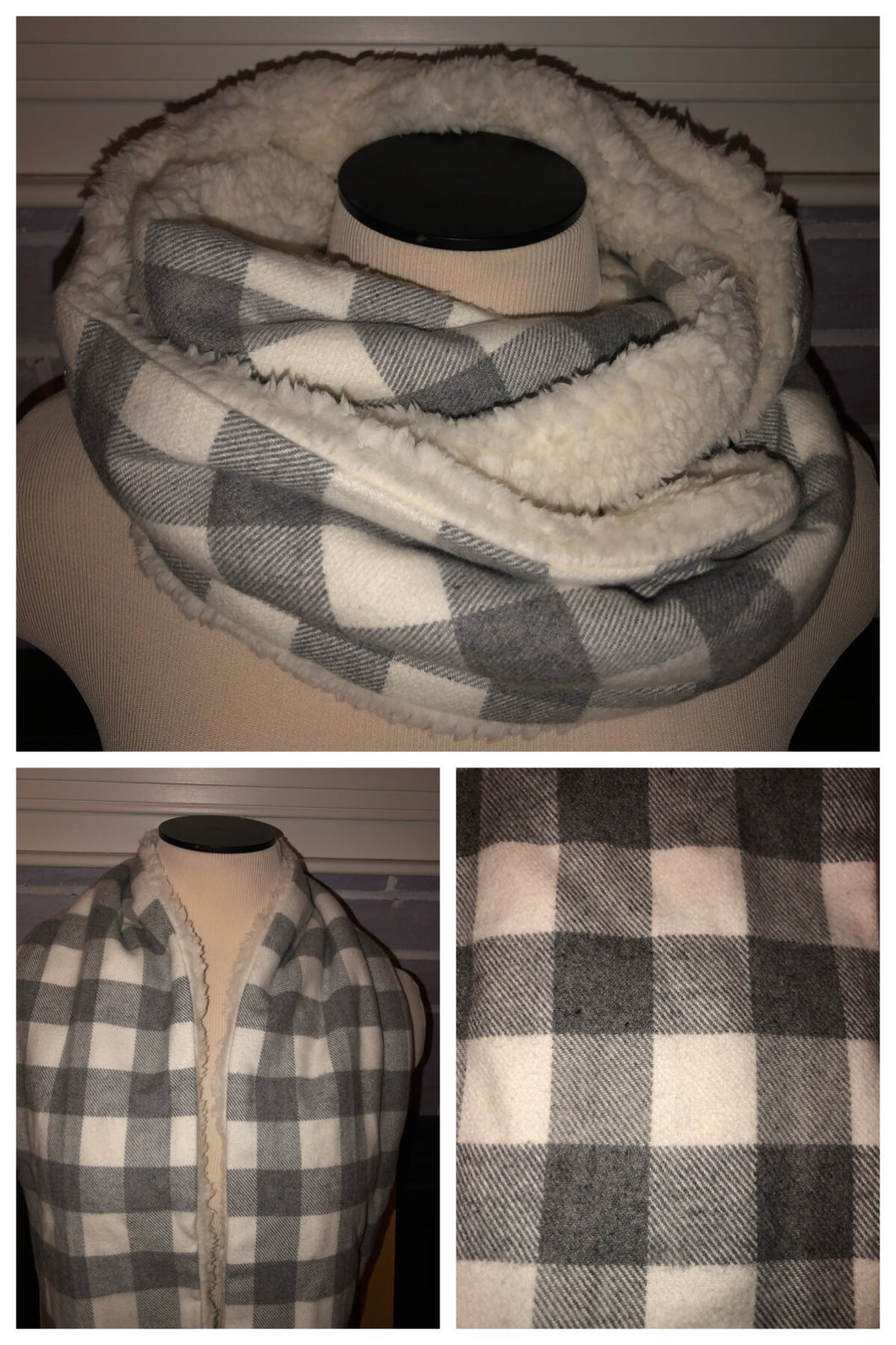Grey/Ivory Buffalo Plaid Flannel with Ivory Sherpa