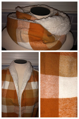 Orange Spice/Ivory Buffalo Check Flannel