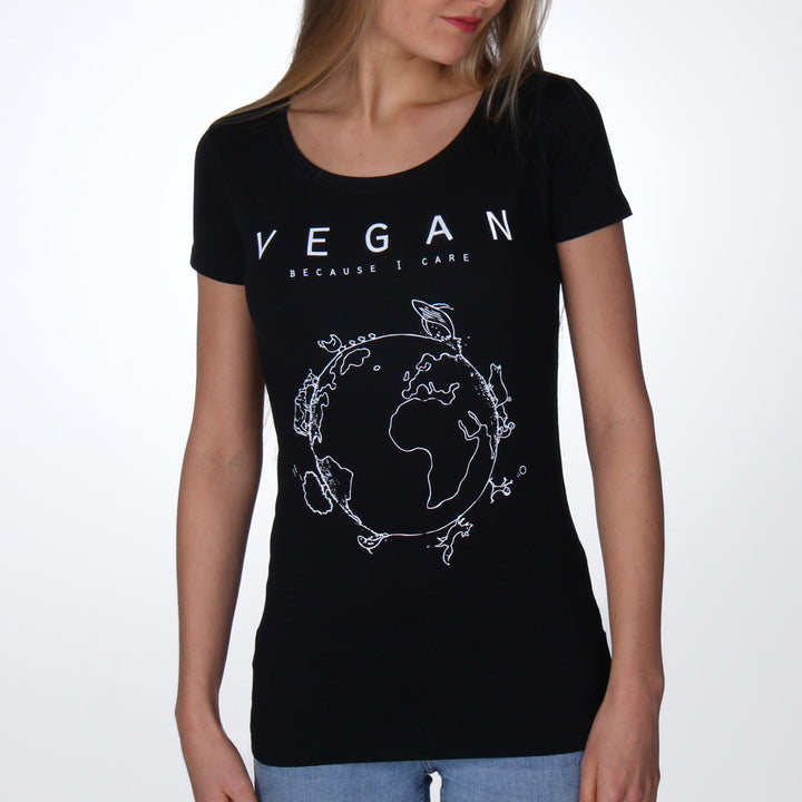 Vegan because I care T-shirt vrouwen zwart - Vegan T-shirts made By Monkey