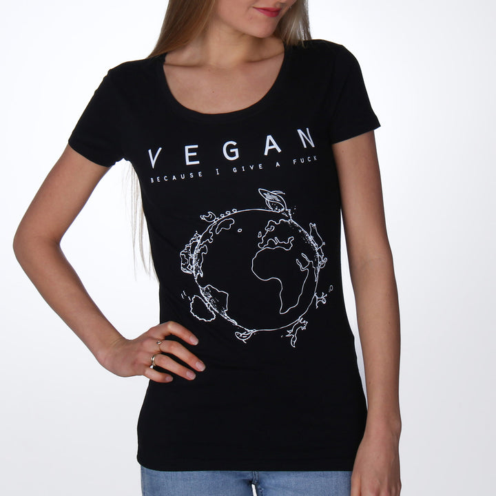 Vegan because I give a fuck T-shirt vrouw zwart - Vegan T-shirts made By Monkey
