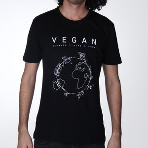 Vegan because I give a fuck T-shirt man black - Vegan T-shirts made By Monkey