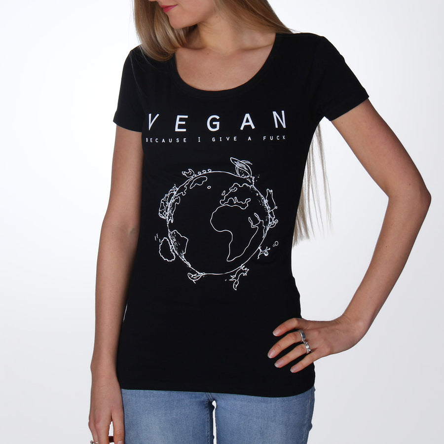 Vegan because I give a fuck T-shirt women black - Vegan T-shirts made By Monkey