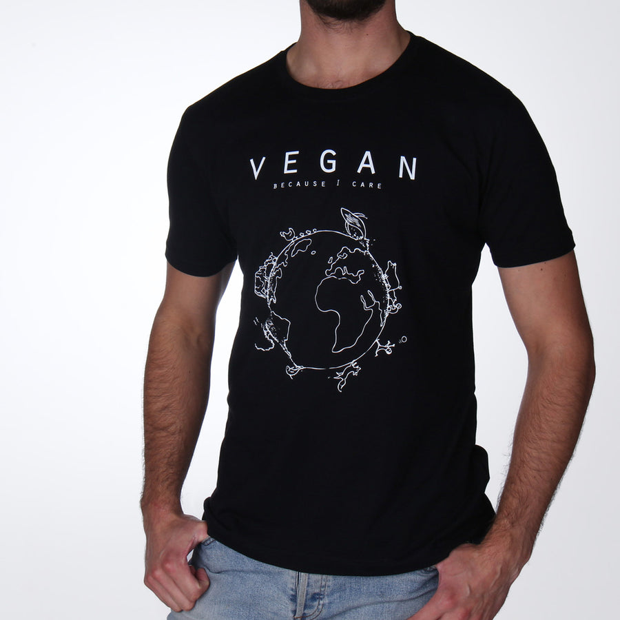 Vegan because I care - vegan t-shirt hoge kwaliteit man zwart - By Monkey