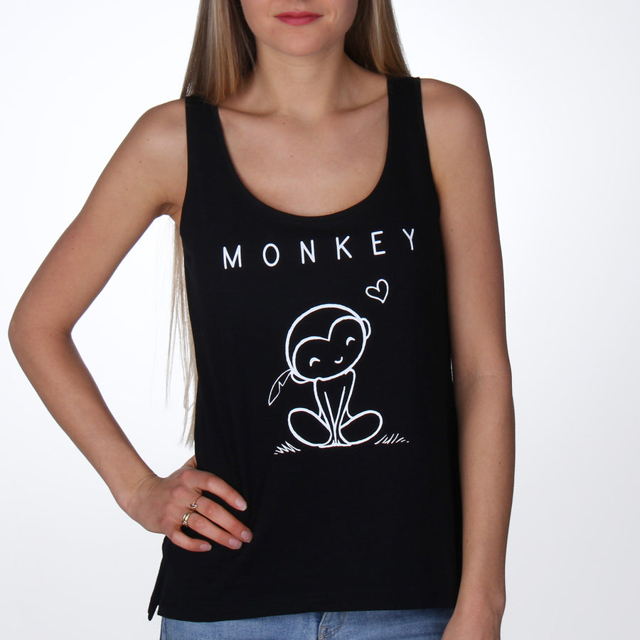 Monkey shirt top women black - Vegan shirts, ethically made By Monkey