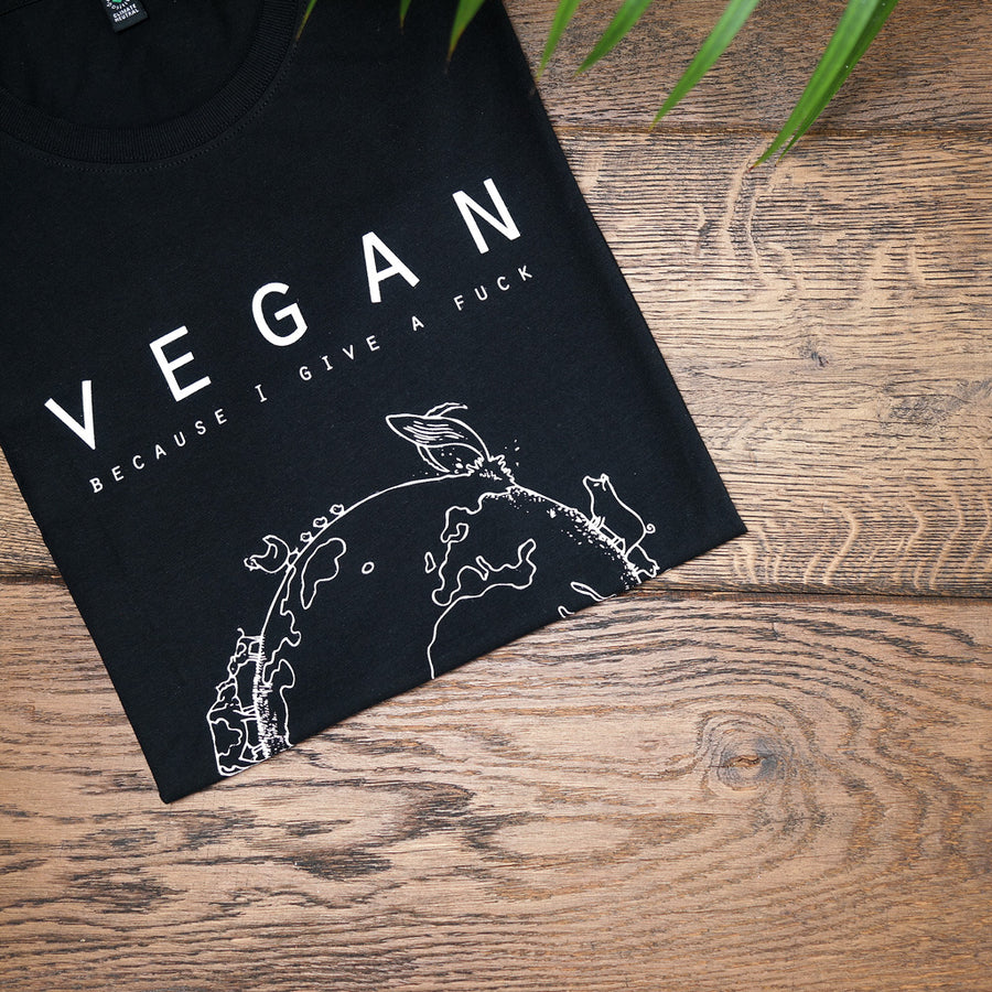 Vegan T-shirts vegan because I give a fuck - By Monkey