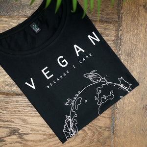 Vegan T-shirt wereldbol zwart - By Monkey