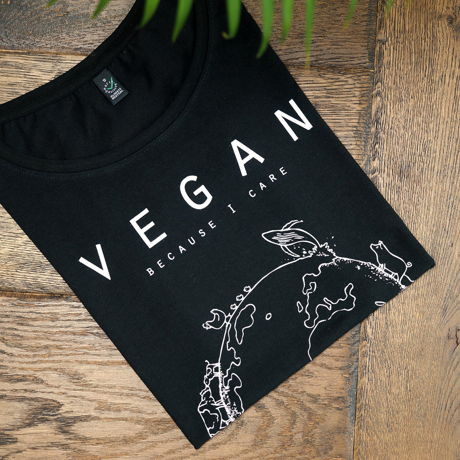 Vegan T-shirt design wereldbol zwart - By Monkey