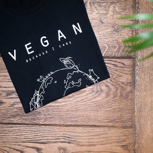 Vegan T-shirt, vegan because I care design man zwart - By Monkey