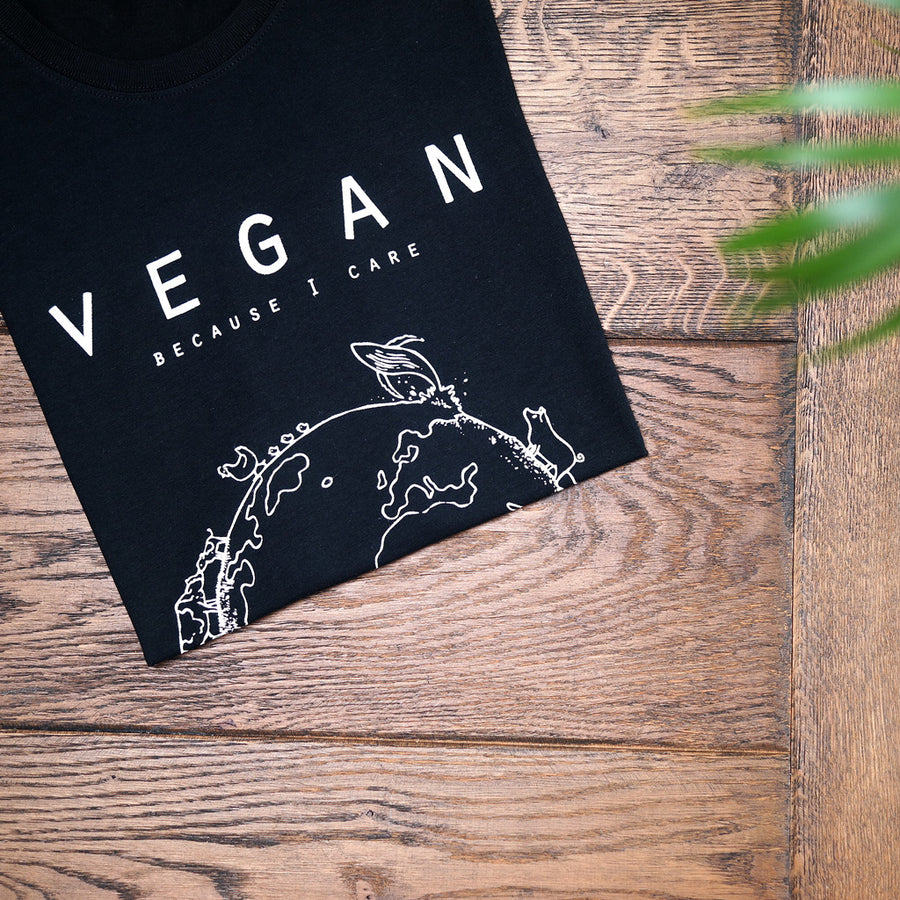 Vegan T-shirt design man zwart - By Monkey