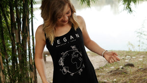 Vegan because I care, tanktop vrouwen zwart - Vegan T-shirts made By Monkey