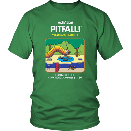 Pitfall! Atari 2600 Retro Vintage Video Game Box Art T-Shirt