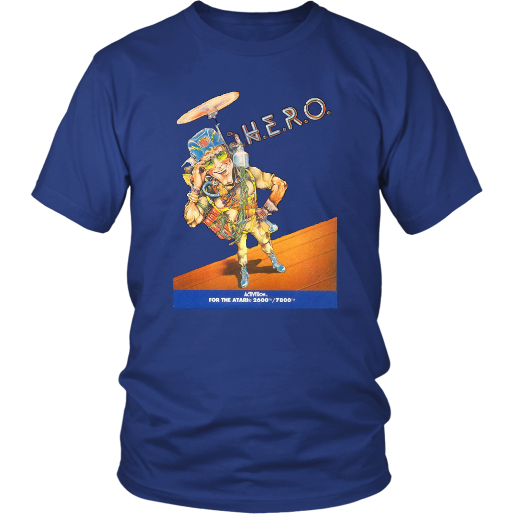 Atari 2600 H.E.R.O. HERO Vintage Video Game Box Art Unisex T-Shirt