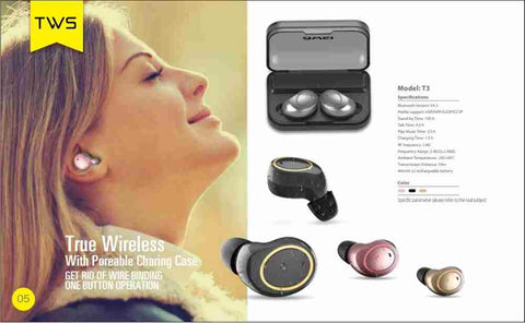 598c1b5ac58 Introducing the AWEI T3 true wireless earbuds with charging case is  durable, sturdy, and packed with great sound for your entertainment,  leisure, sports, ...