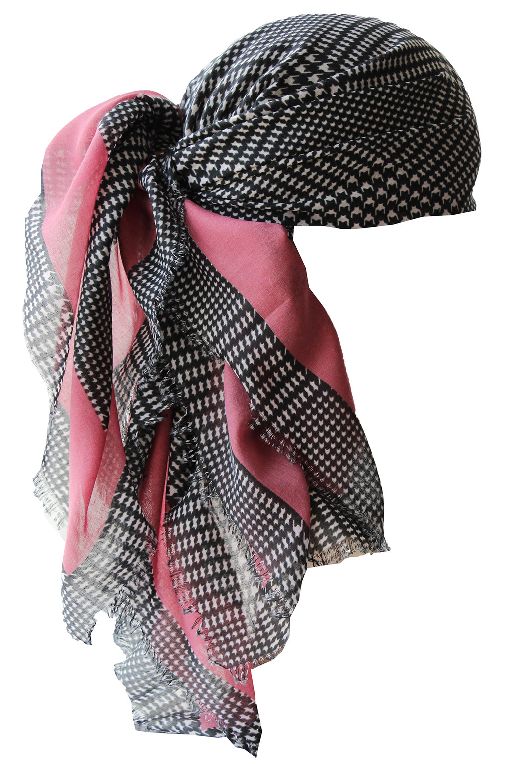 Everyday Square Headscarf- Black with Dusty Pink Edges