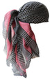Special Fringed Trim Square Headscarf - Black with Dust Pink Edges