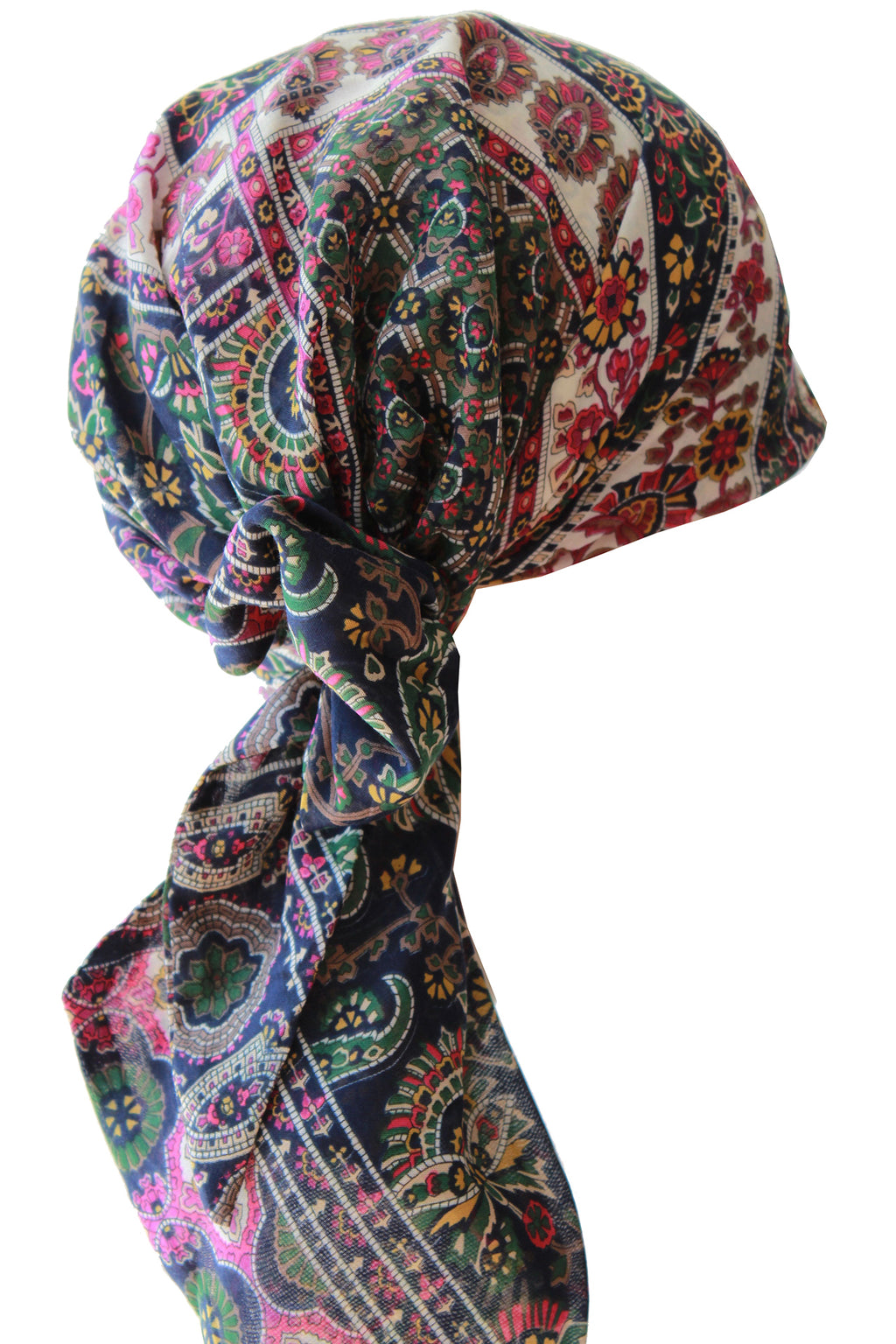 Easy Tie Head scarf (125-Jade Fuchia Cream)