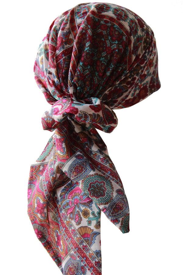 Deresina Easy tie chemo headscarf 132 burgundy cyan cream