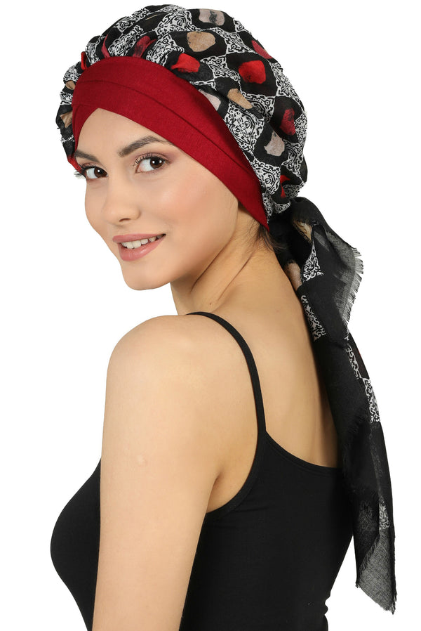 W Front Cap with Attached Scarf (Burgundy Front Black Squares-204)