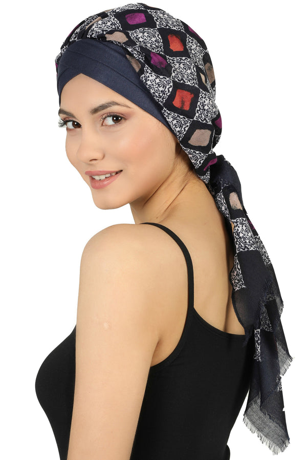 W Front Cap with Attached Scarf (Denim Front Navy Squares-208)