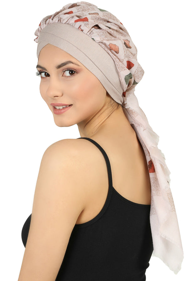 W Front Cap with Attached Scarf (Mink Front Beige Squares-212)