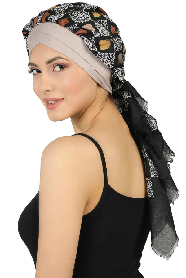 W Front Cap with Attached Scarf (Mink Front Black Squares-213)