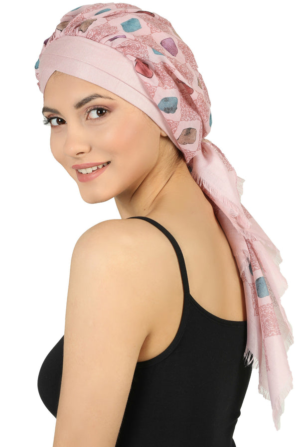 W Front Cap with Attached Scarf (Pink Front Pink Squares-217)