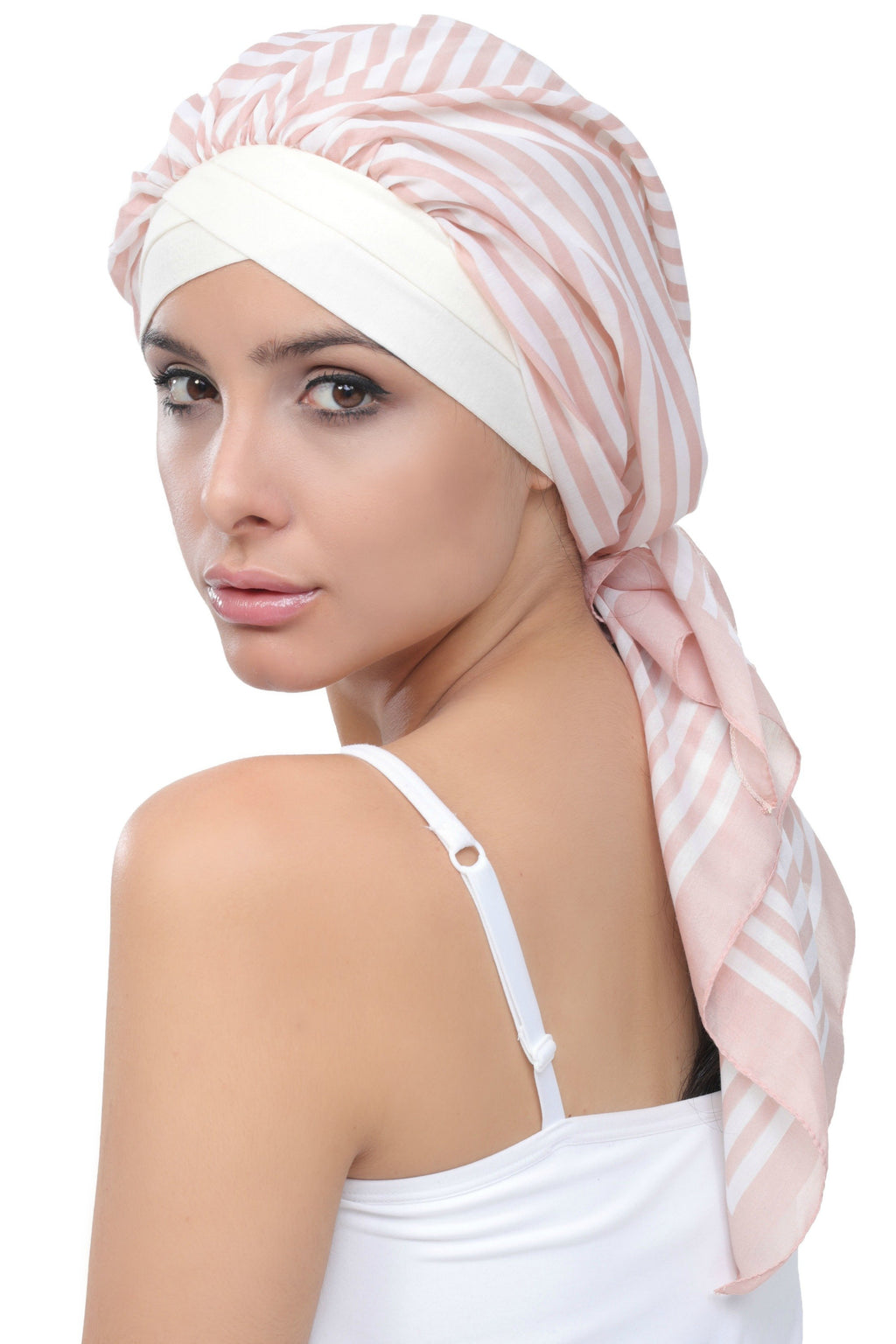 Deresina W cap with attached chemo headscarf style30 cream somon