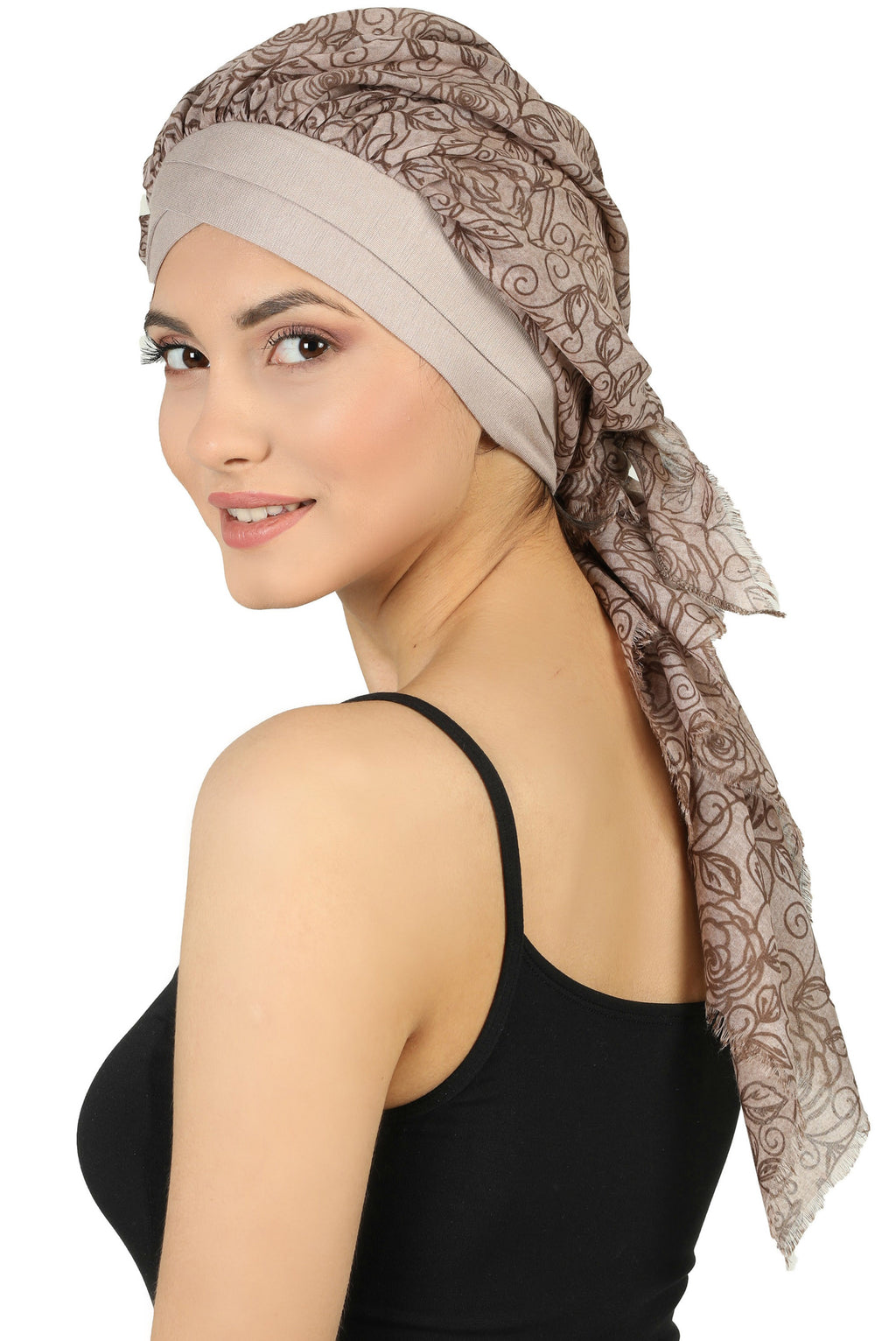W Front Cap with Attached Scarf (Mink Front Mink Roses-314)