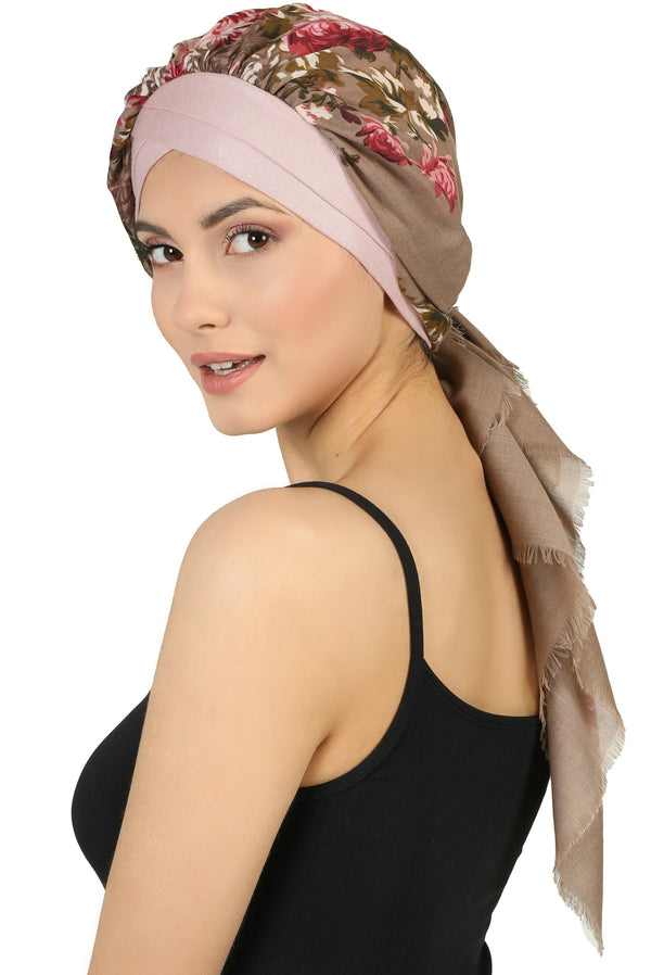 W Front Cap with Attached Head Scarf (Pink Front Mink Flowers-316)