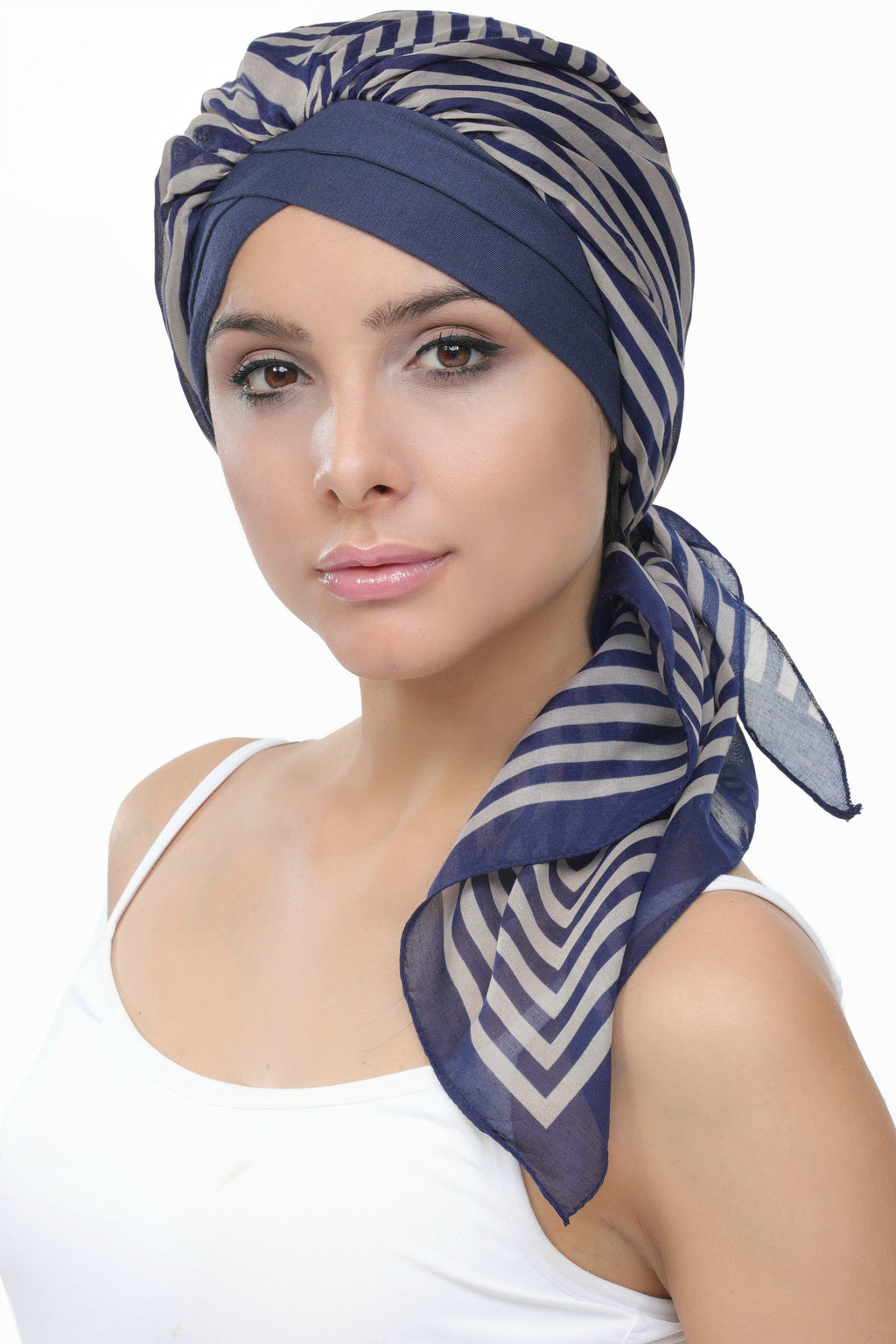 Deresina W cap with attached chemo headscarf style32 denim mink