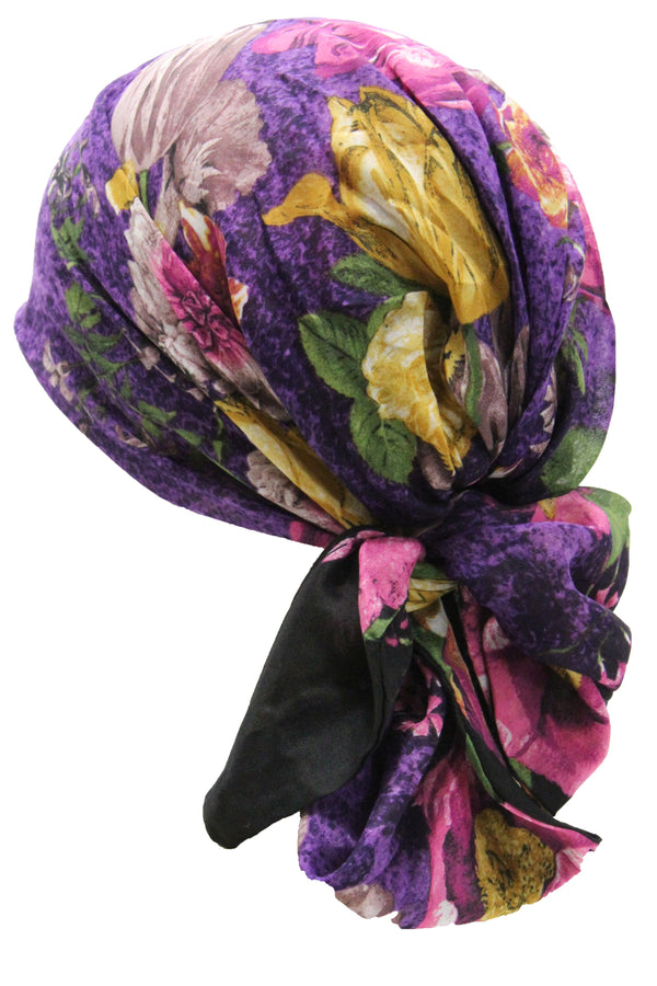 Deresina Easy tie chemo headscarf 32 purple flower