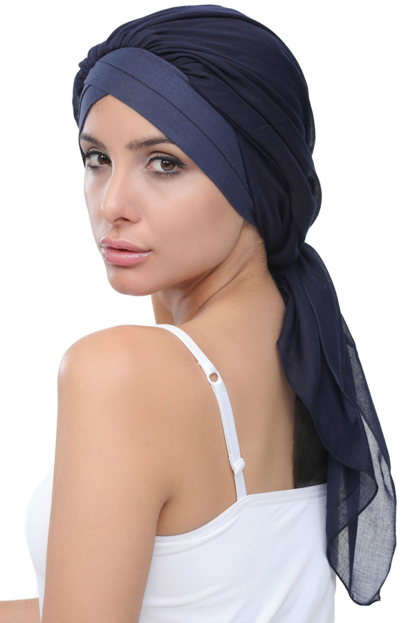 Deresina W cap with attached chemo headscarf style33 denim navy