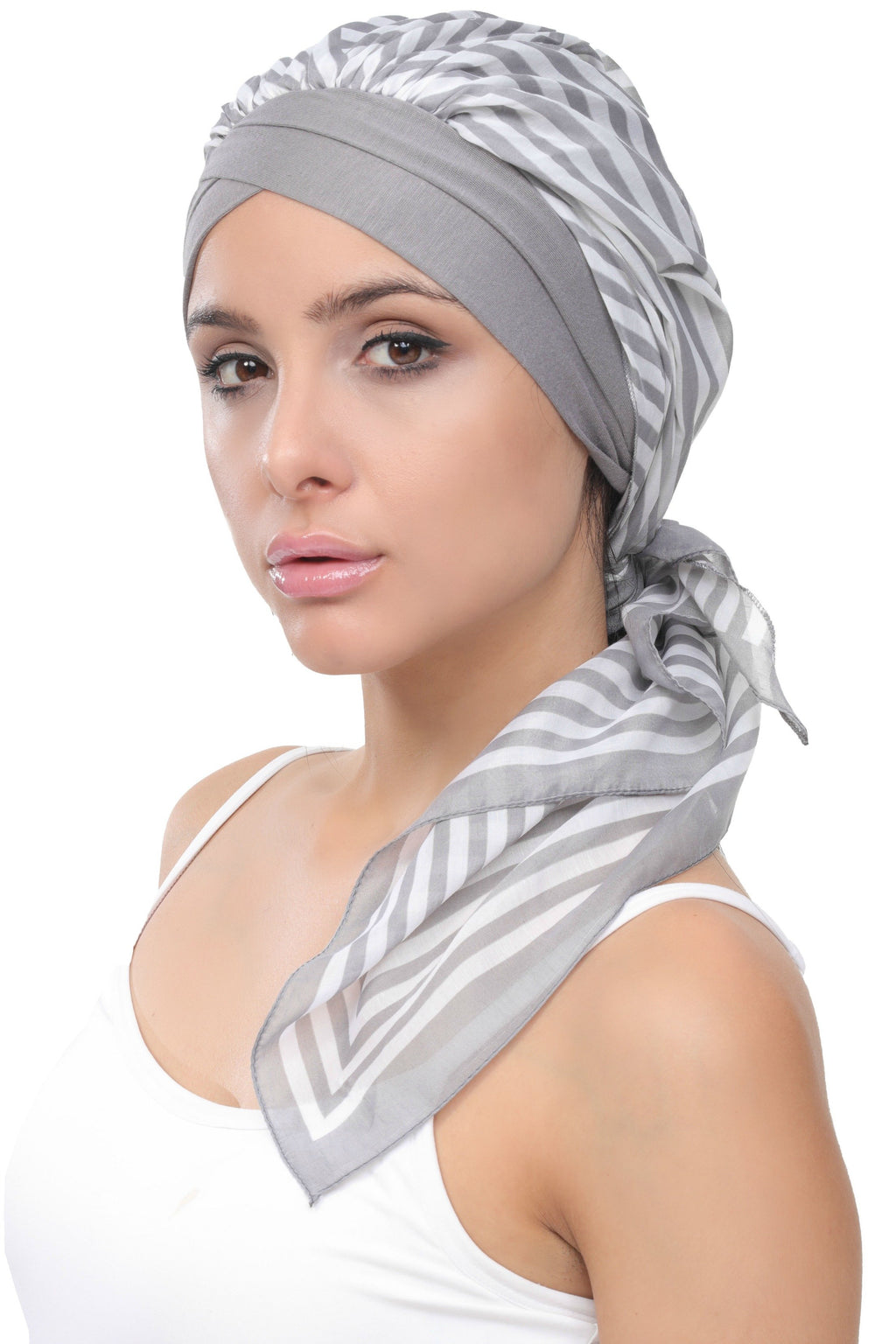Deresina W cap with attached chemo headscarf style35 grey printed